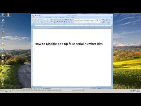 How to Disable pop up fake serial number idm